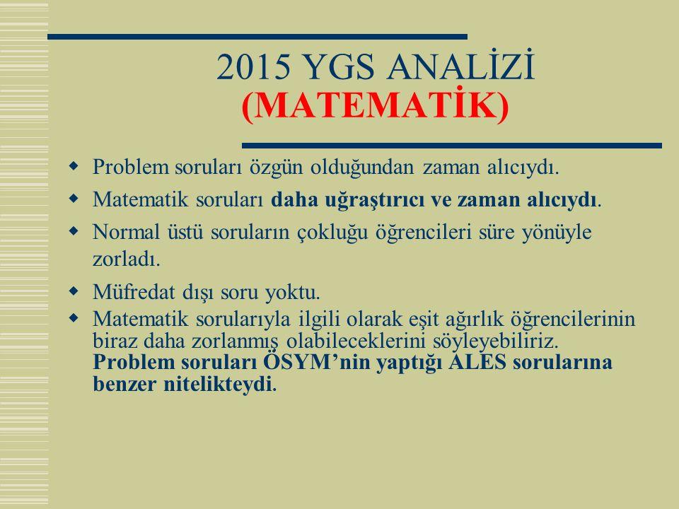 2015 YGS ANALİZİ (MATEMATİK)  Problem soruları özgün olduğundan zaman alıcıydı.  Matematik soruları daha uğraştırıcı ve zaman alıcıydı.  Normal üst