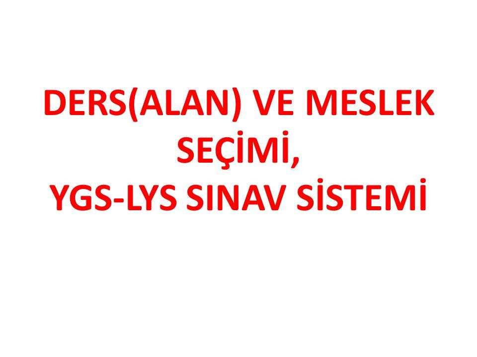 DERS(ALAN) VE MESLEK SEÇİMİ, YGS-LYS SINAV SİSTEMİ