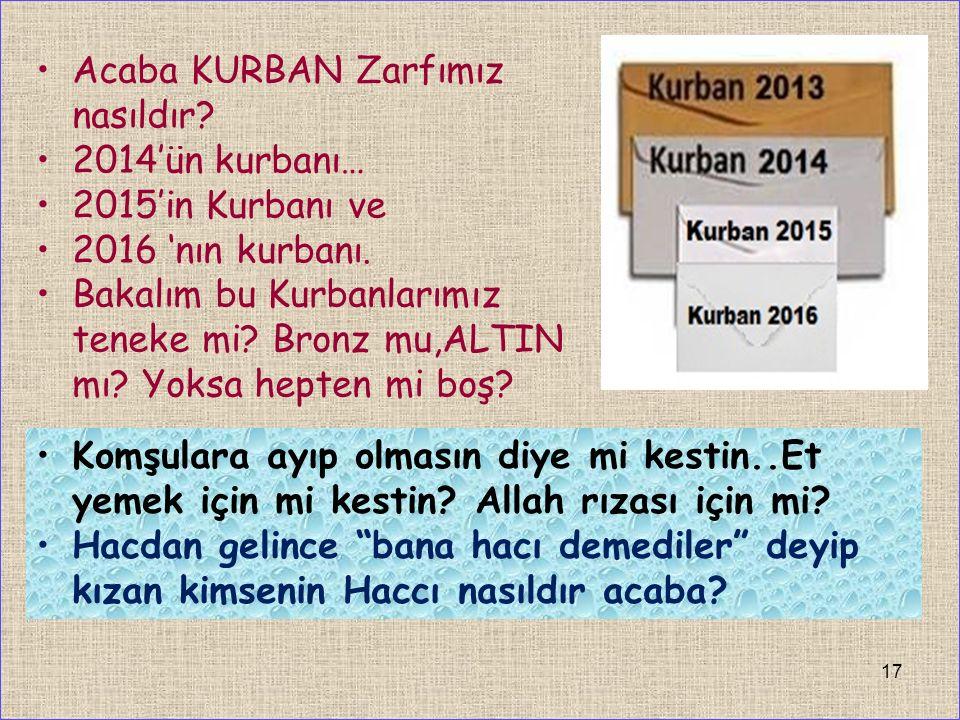Acaba KURBAN Zarfımız nasıldır. 2014'ün kurbanı… 2015'in Kurbanı ve 2016 'nın kurbanı.
