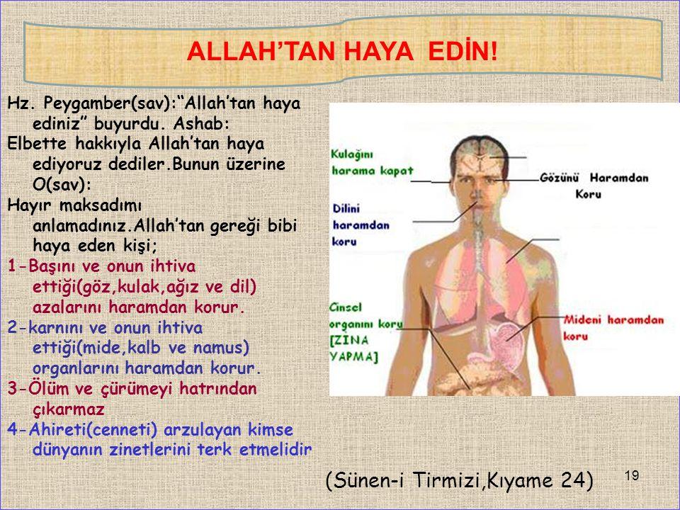 Hz. Peygamber(sav): Allah'tan haya ediniz buyurdu.
