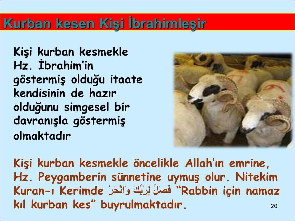 Kişi kurban kesmekle öncelikle Allah'ın emrine, Hz.