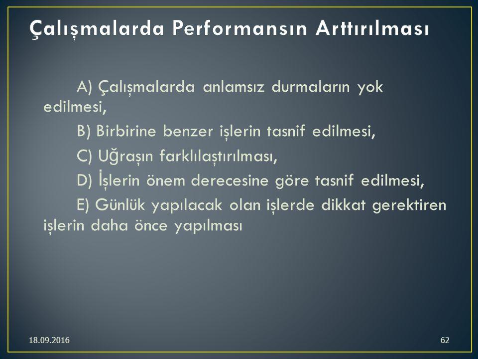 A) Çalışmalarda anlamsız durmaların yok edilmesi, B) Birbirine benzer işlerin tasnif edilmesi, C) U ğ raşın farklılaştırılması, D) İ şlerin önem derec