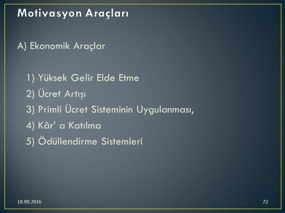 A) Ekonomik Araçlar 1) Yüksek Gelir Elde Etme 2) Ücret Artışı 3) Primli Ücret Sisteminin Uygulanması, 4) Kâr' a Katılma 5) Ödüllendirme Sistemleri 18.