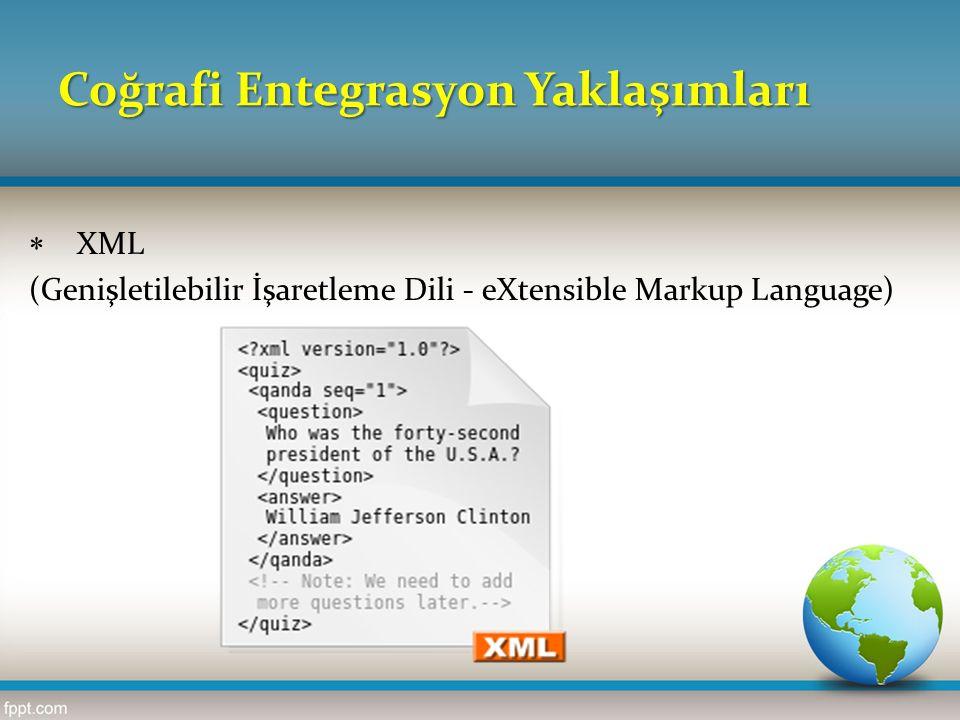 Coğrafi Entegrasyon Yaklaşımları  XML (Genişletilebilir İşaretleme Dili - eXtensible Markup Language)