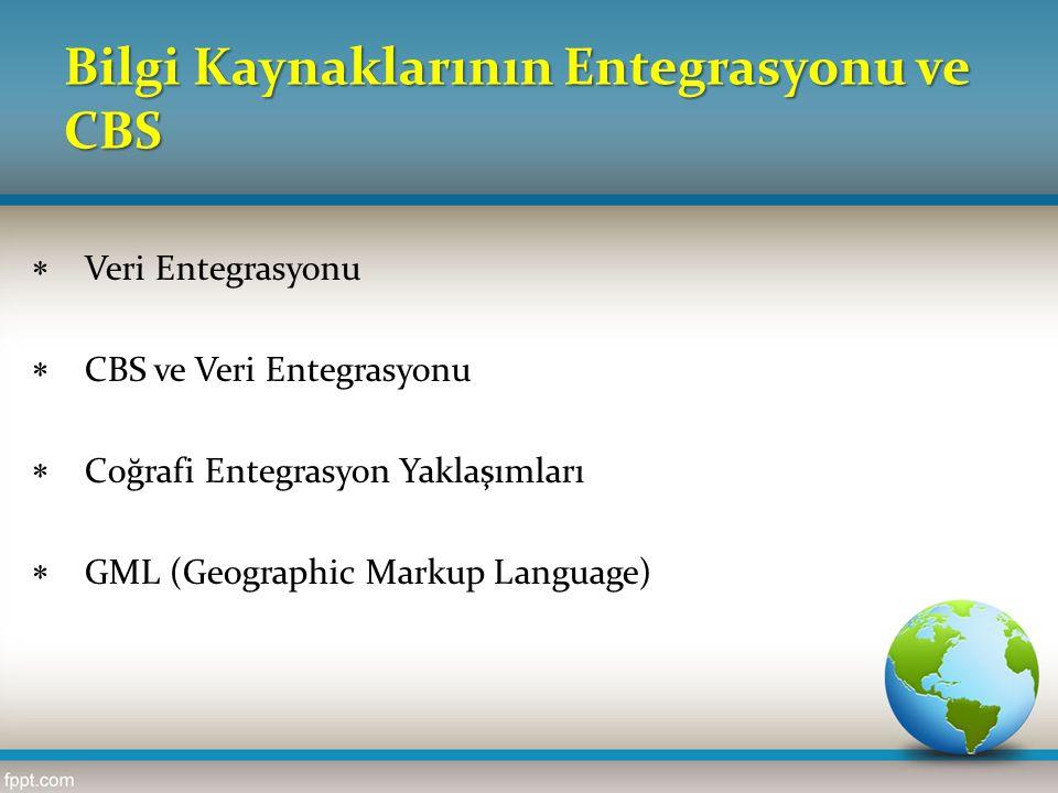 Bilgi Kaynaklarının Entegrasyonu ve CBS  Veri Entegrasyonu  CBS ve Veri Entegrasyonu  Coğrafi Entegrasyon Yaklaşımları  GML (Geographic Markup Lan