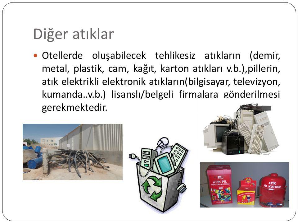Diğer atıklar Otellerde oluşabilecek tehlikesiz atıkların (demir, metal, plastik, cam, kağıt, karton atıkları v.b.),pillerin, atık elektrikli elektron