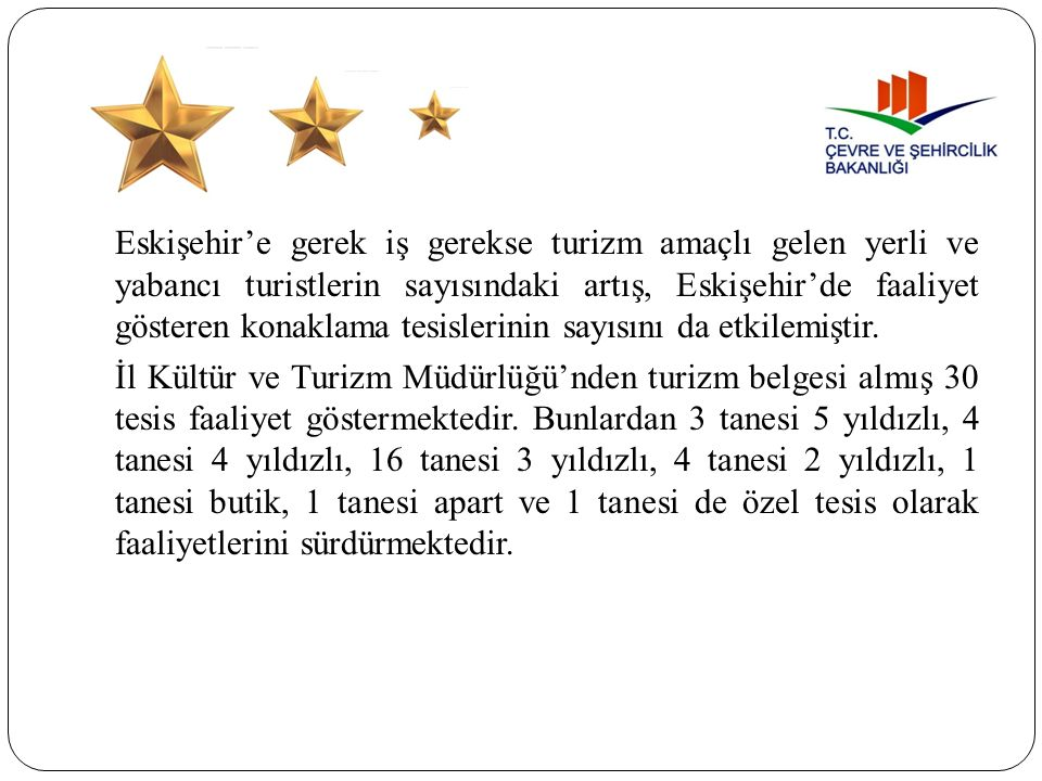 Eskişehir'e gerek iş gerekse turizm amaçlı gelen yerli ve yabancı turistlerin sayısındaki artış, Eskişehir'de faaliyet gösteren konaklama tesislerinin sayısını da etkilemiştir.