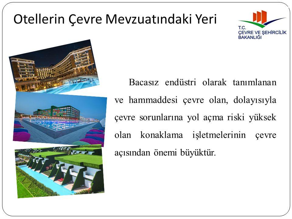 Otellerde Çevre Yönetimi 25.11.2014 tarih ve 29186 sayılı Resmi Gazetede yayımlanan Çevresel Etki Değerlendirmesi (ÇED) Yönetmeliği Ek-1 / 42- Turizm konaklama tesisleri: Oteller, tatil köyleri ve/veya turizm kompleksleri ve benzeri, (500 oda ve üzeri) Ek-2 / 32- Turizm konaklama tesisleri: Oteller, tatil köyleri, turizm kompleksleri vb.