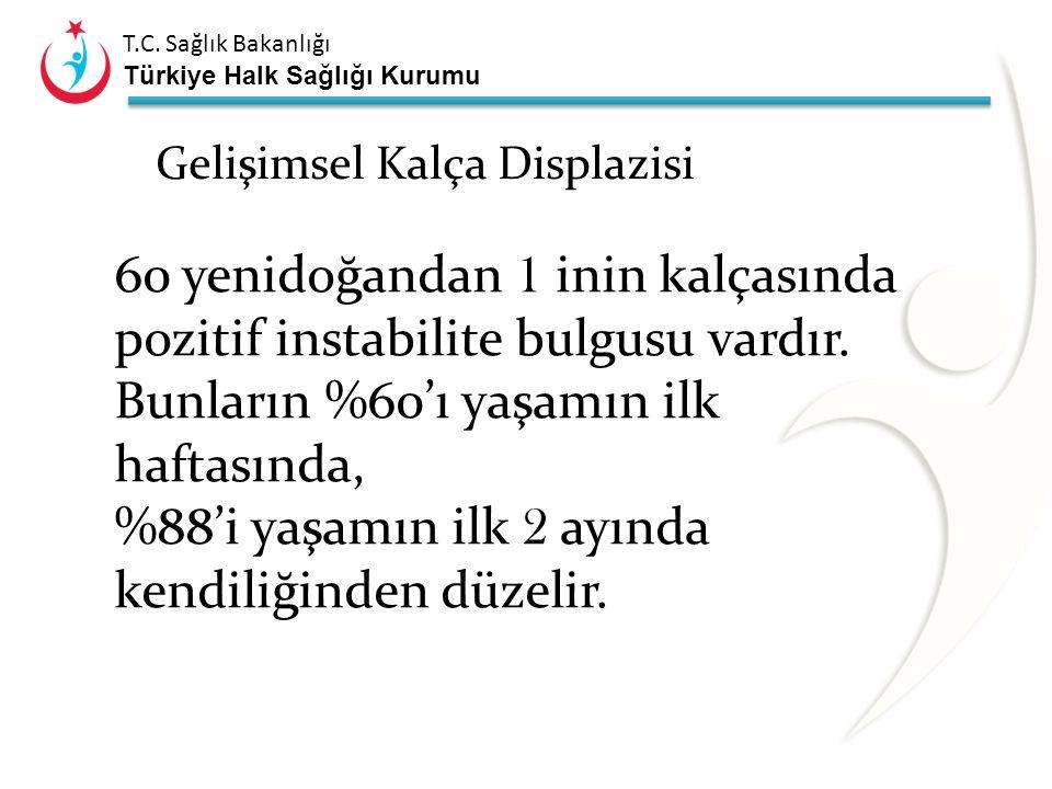T.C. Sağlık Bakanlığı Türkiye Halk Sağlığı Kurumu Gelişimsel Kalça Displazisi Kalça displazisi tanımı kapsamındaki sorun üç grupta değerlendirilir: 1.