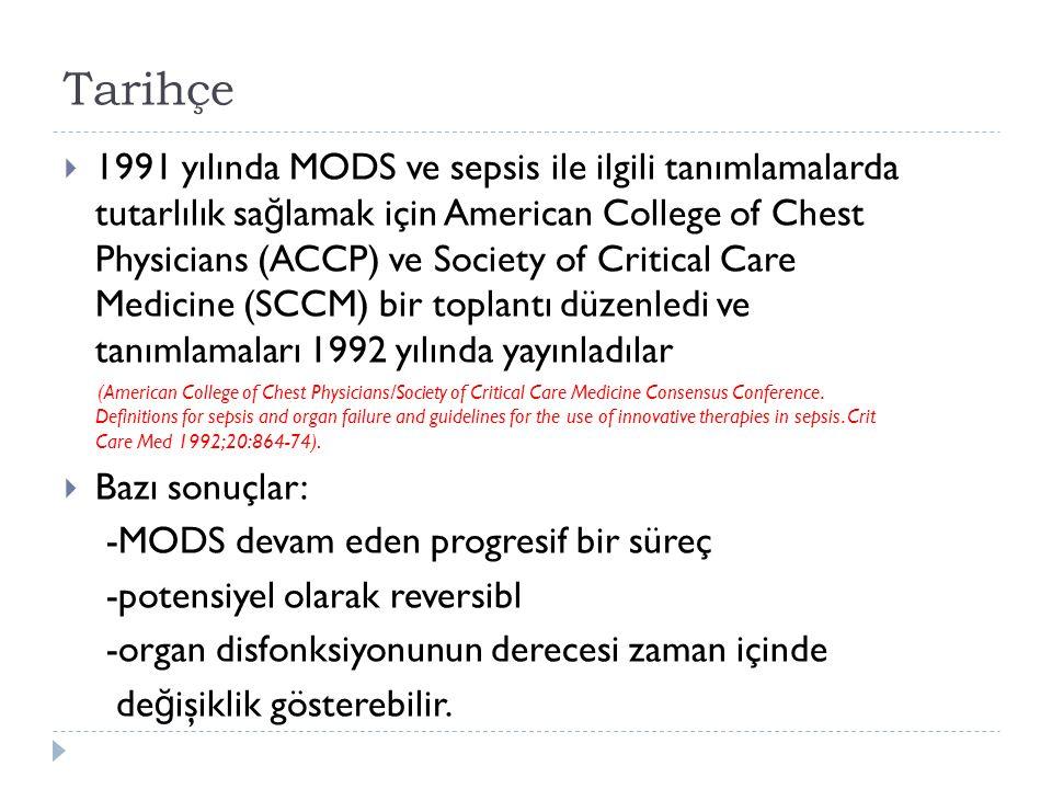 Tarihçe  1991 yılında MODS ve sepsis ile ilgili tanımlamalarda tutarlılık sa ğ lamak için American College of Chest Physicians (ACCP) ve Society of Critical Care Medicine (SCCM) bir toplantı düzenledi ve tanımlamaları 1992 yılında yayınladılar (American College of Chest Physicians/Society of Critical Care Medicine Consensus Conference.