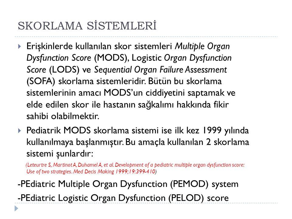 SKORLAMA SİSTEMLERİ  Erişkinlerde kullanılan skor sistemleri Multiple Organ Dysfunction Score (MODS), Logistic Organ Dysfunction Score (LODS) ve Sequential Organ Failure Assessment (SOFA) skorlama sistemleridir.
