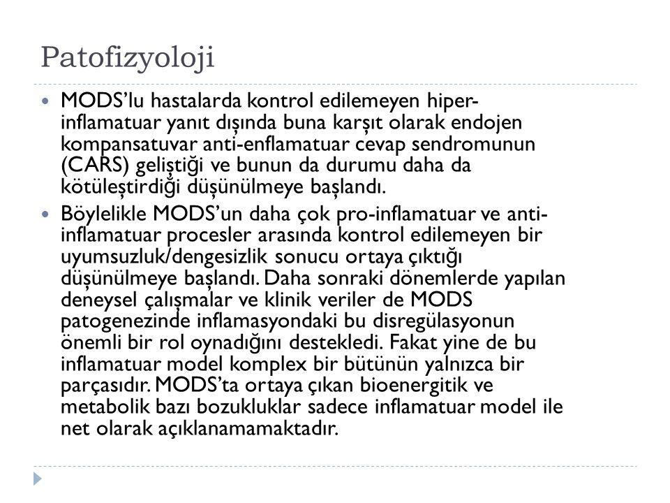Patofizyoloji MODS'lu hastalarda kontrol edilemeyen hiper- inflamatuar yanıt dışında buna karşıt olarak endojen kompansatuvar anti-enflamatuar cevap sendromunun (CARS) gelişti ğ i ve bunun da durumu daha da kötüleştirdi ğ i düşünülmeye başlandı.