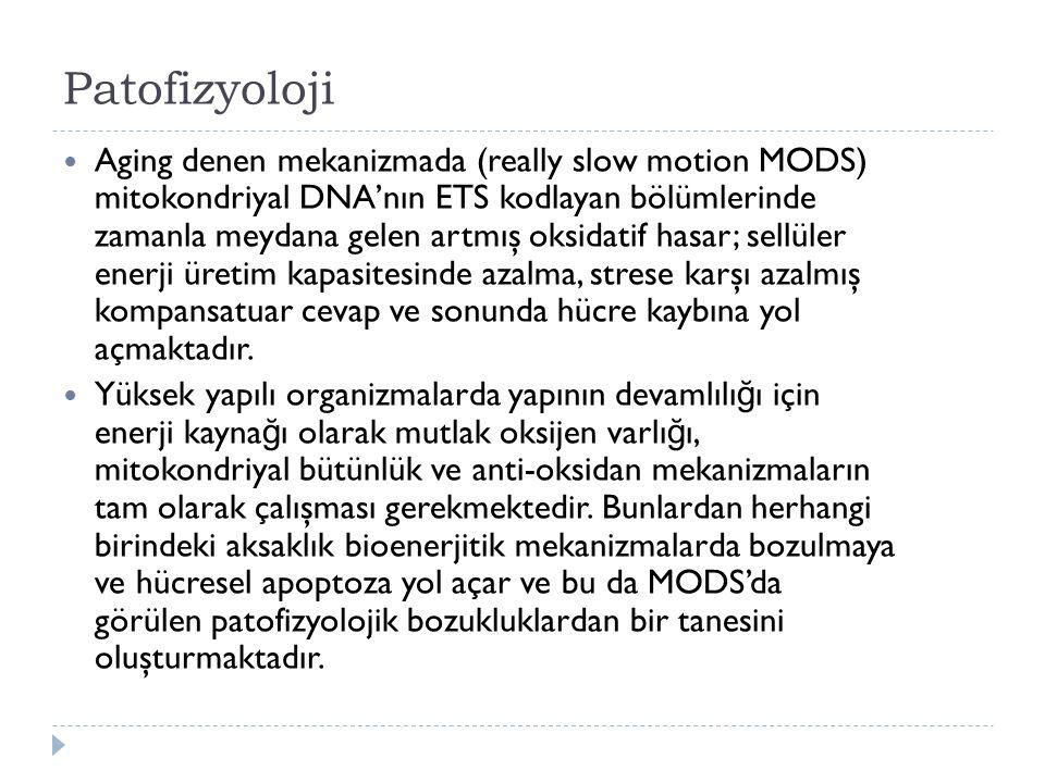 Patofizyoloji Aging denen mekanizmada (really slow motion MODS) mitokondriyal DNA'nın ETS kodlayan bölümlerinde zamanla meydana gelen artmış oksidatif hasar; sellüler enerji üretim kapasitesinde azalma, strese karşı azalmış kompansatuar cevap ve sonunda hücre kaybına yol açmaktadır.