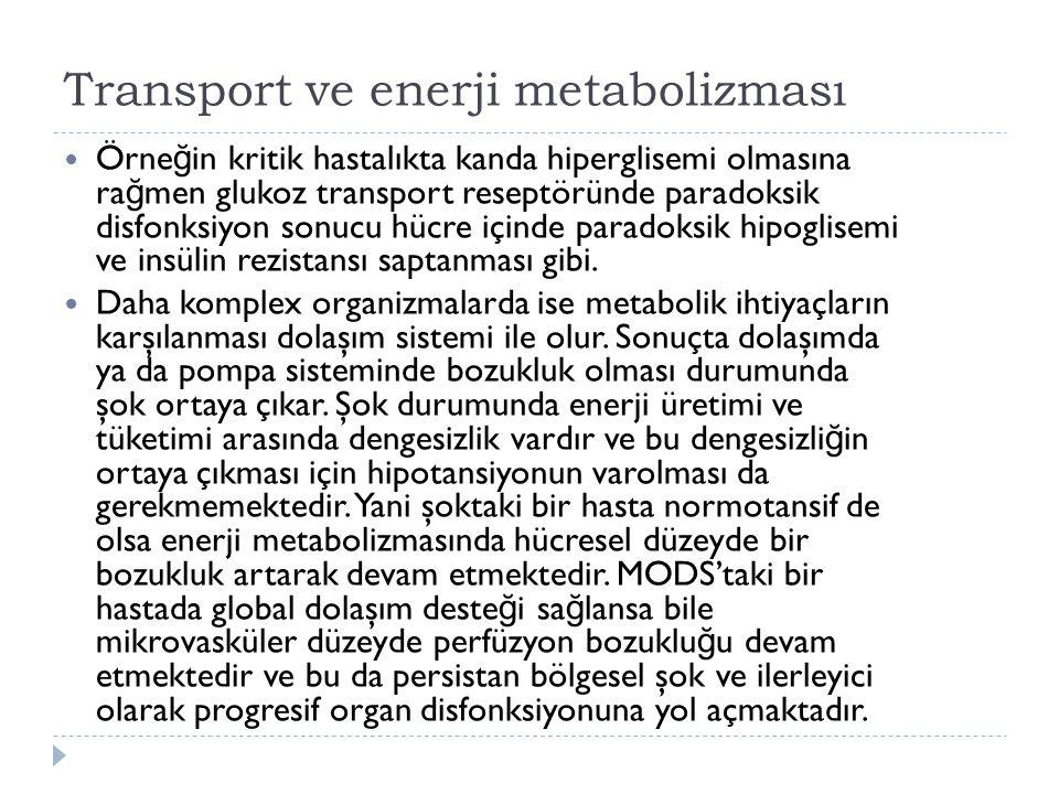 Transport ve enerji metabolizması Örne ğ in kritik hastalıkta kanda hiperglisemi olmasına ra ğ men glukoz transport reseptöründe paradoksik disfonksiyon sonucu hücre içinde paradoksik hipoglisemi ve insülin rezistansı saptanması gibi.