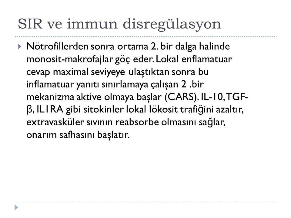 SIR ve immun disregülasyon  Nötrofillerden sonra ortama 2.