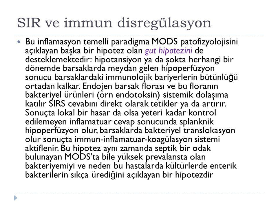 SIR ve immun disregülasyon Bu inflamasyon temelli paradigma MODS patofizyolojisini açıklayan başka bir hipotez olan gut hipotezini de desteklemektedir: hipotansiyon ya da şokta herhangi bir dönemde barsaklarda meydan gelen hipoperfüzyon sonucu barsaklardaki immunolojik bariyerlerin bütünlü ğ ü ortadan kalkar.