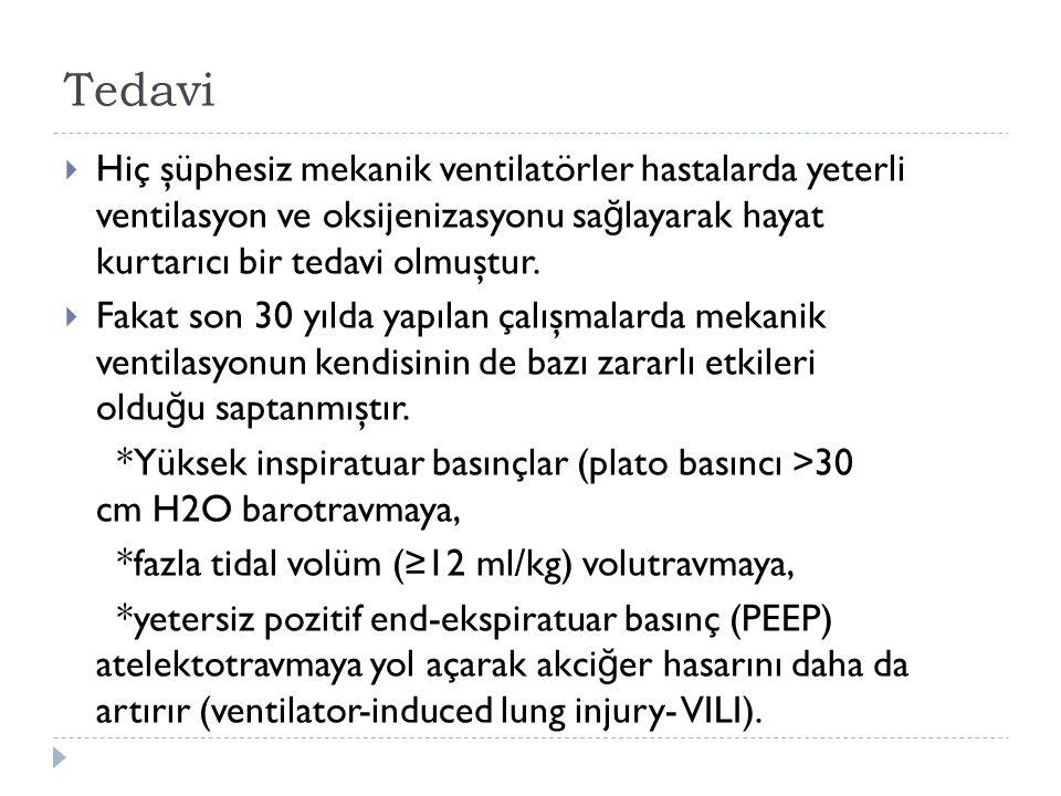 Tedavi  Hiç şüphesiz mekanik ventilatörler hastalarda yeterli ventilasyon ve oksijenizasyonu sa ğ layarak hayat kurtarıcı bir tedavi olmuştur.