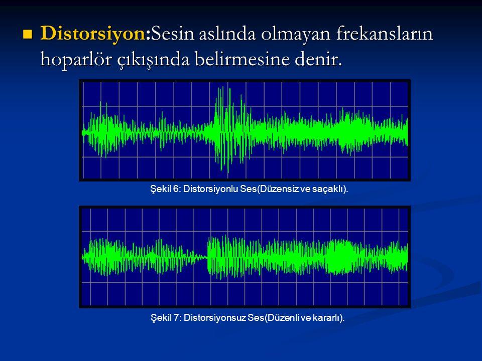 Distorsiyon:Sesin aslında olmayan frekansların hoparlör çıkışında belirmesine denir.