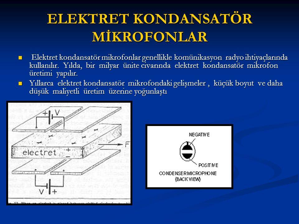 ELEKTRET KONDANSATÖR MİKROFONLAR Elektret kondansatör mikrofonlar genellikle komünikasyon radyo ihtiyaçlarında kullanılır.