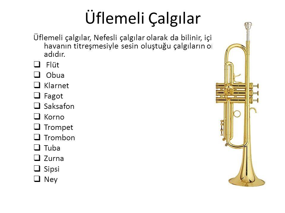 Üflemeli Çalgılar Üflemeli çalgılar, Nefesli çalgılar olarak da bilinir, içindeki havanın titreşmesiyle sesin oluştuğu çalgıların ortak adıdır.