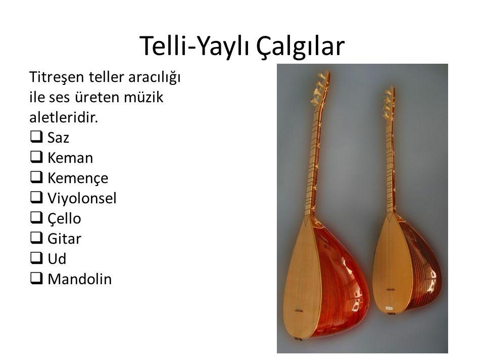 Telli-Yaylı Çalgılar Titreşen teller aracılığı ile ses üreten müzik aletleridir.