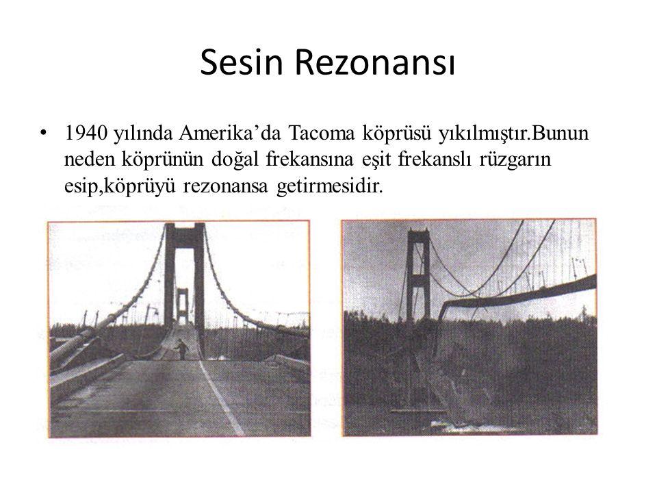 1940 yılında Amerika'da Tacoma köprüsü yıkılmıştır.Bunun neden köprünün doğal frekansına eşit frekanslı rüzgarın esip,köprüyü rezonansa getirmesidir.