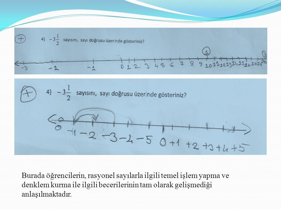 Burada öğrencilerin, rasyonel sayılarla ilgili temel işlem yapma ve denklem kurma ile ilgili becerilerinin tam olarak gelişmediği anlaşılmaktadır.
