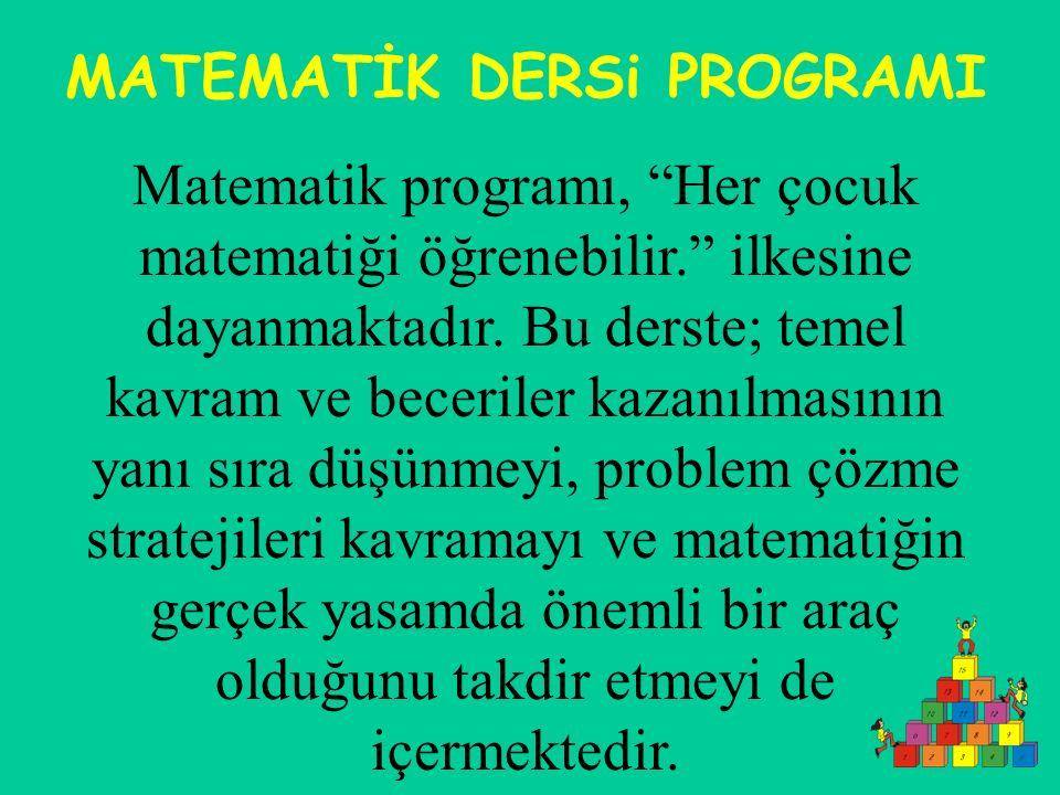 MATEMATİK DERSi PROGRAMI Matematik programı, Her çocuk matematiği öğrenebilir. ilkesine dayanmaktadır.