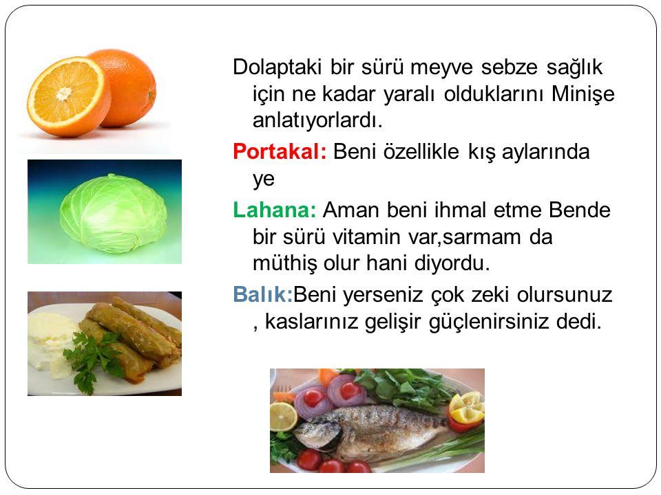 Dolaptaki bir sürü meyve sebze sağlık için ne kadar yaralı olduklarını Minişe anlatıyorlardı.