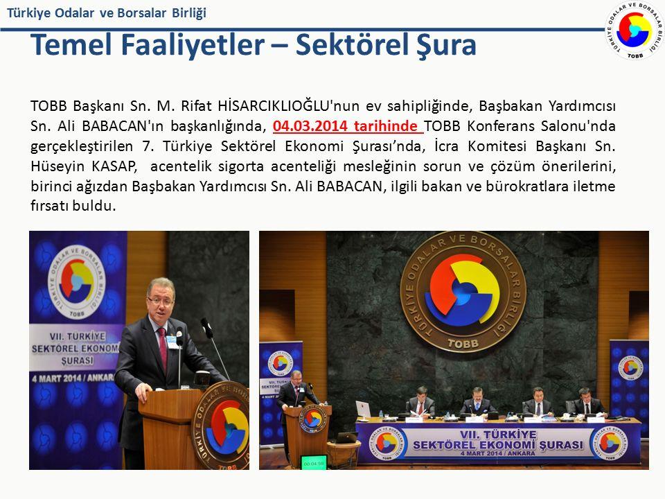 Türkiye Odalar ve Borsalar Birliği Temel Faaliyetler – Sektörel Şura TOBB Başkanı Sn. M. Rifat HİSARCIKLIOĞLU'nun ev sahipliğinde, Başbakan Yardımcısı