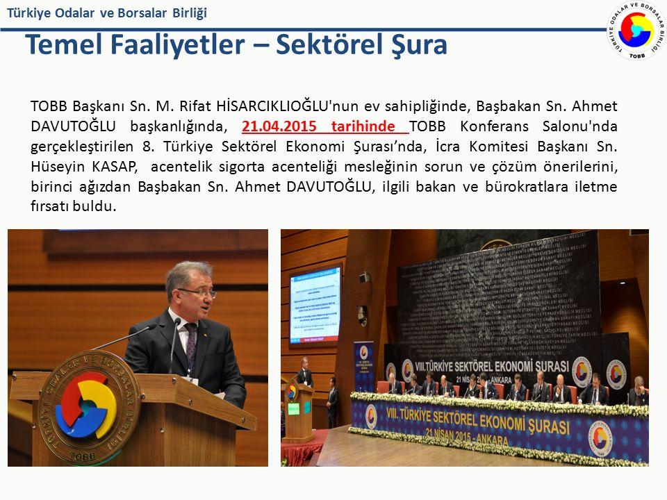 Türkiye Odalar ve Borsalar Birliği Temel Faaliyetler – Sektörel Şura TOBB Başkanı Sn. M. Rifat HİSARCIKLIOĞLU'nun ev sahipliğinde, Başbakan Sn. Ahmet