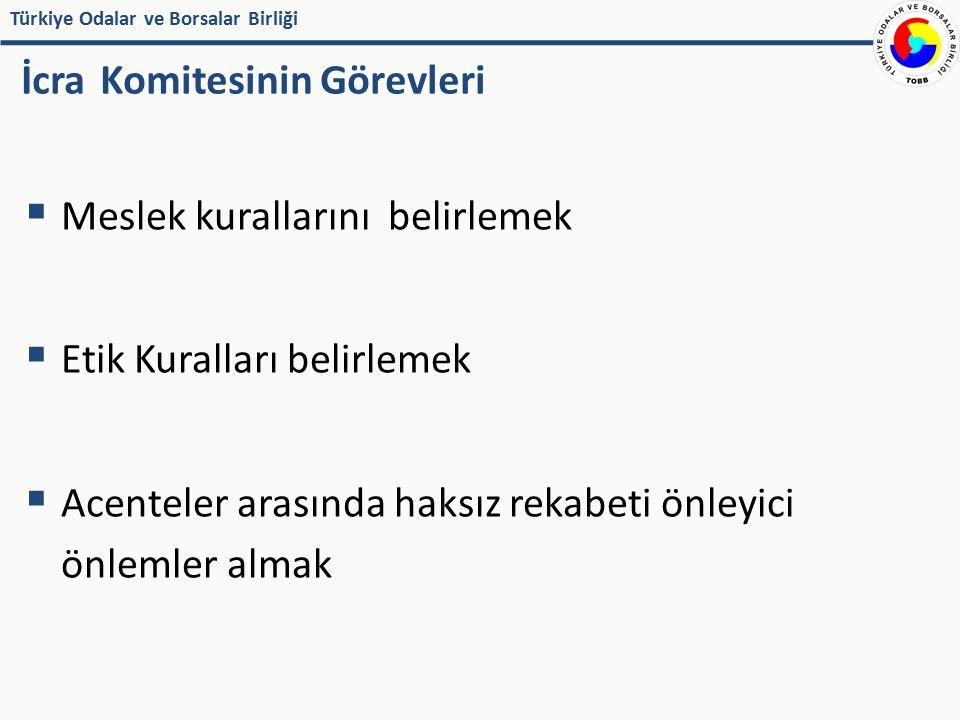 Türkiye Odalar ve Borsalar Birliği İcra Komitesinin Görevleri  Sigorta acenteliğine ait gelişmeler ile idarî ve yasal düzenlemeleri izleyerek toplayacağı bilgileri mensuplarına ve ilgililere ulaştırmak  Yurt içinde ve yurt dışında sigorta acenteliği ile ilgili diğer meslek kuruluşları ile ilişki kurmak