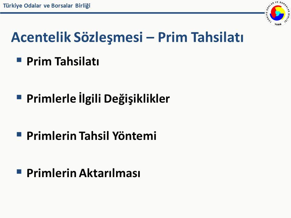 Türkiye Odalar ve Borsalar Birliği  Prim Tahsilatı  Primlerle İlgili Değişiklikler  Primlerin Tahsil Yöntemi  Primlerin Aktarılması Acentelik Sözl