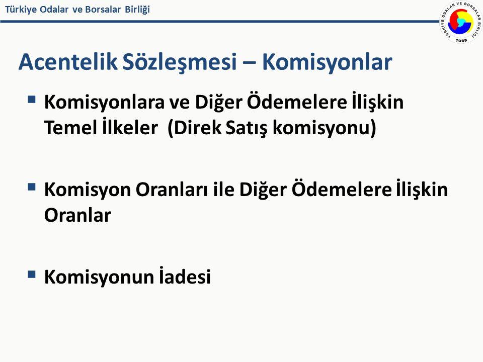 Türkiye Odalar ve Borsalar Birliği  Komisyonlara ve Diğer Ödemelere İlişkin Temel İlkeler (Direk Satış komisyonu)  Komisyon Oranları ile Diğer Ödeme