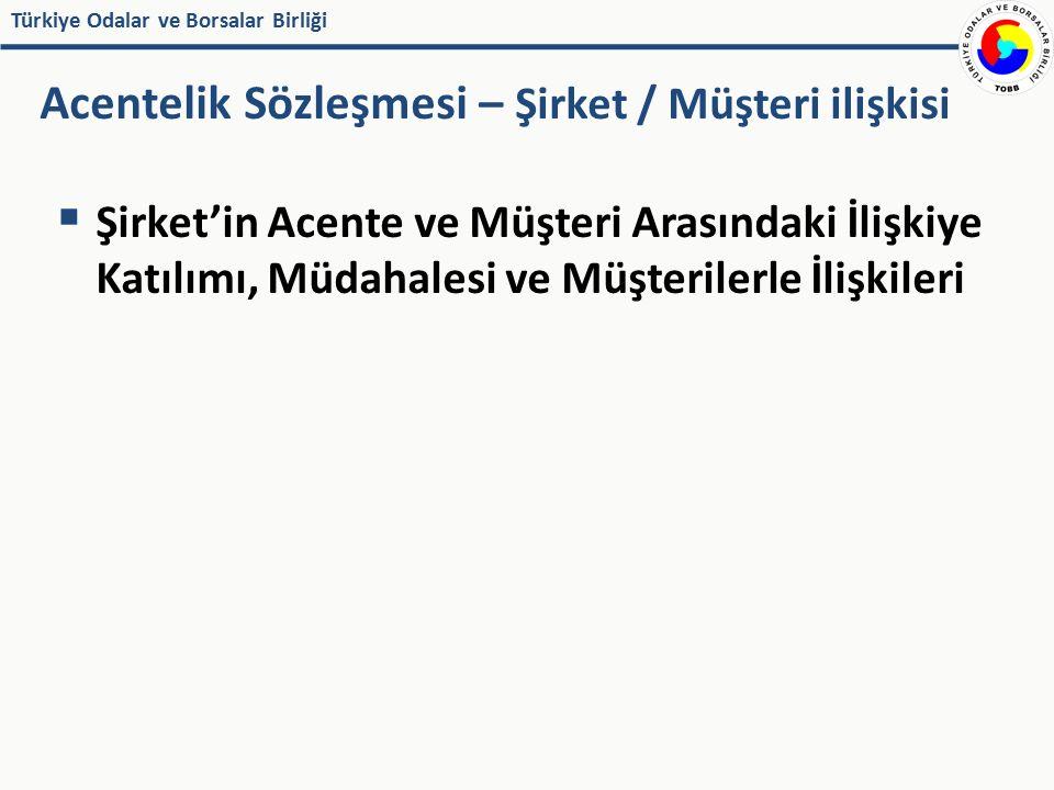Türkiye Odalar ve Borsalar Birliği  Şirket'in Acente ve Müşteri Arasındaki İlişkiye Katılımı, Müdahalesi ve Müşterilerle İlişkileri Acentelik Sözleşm