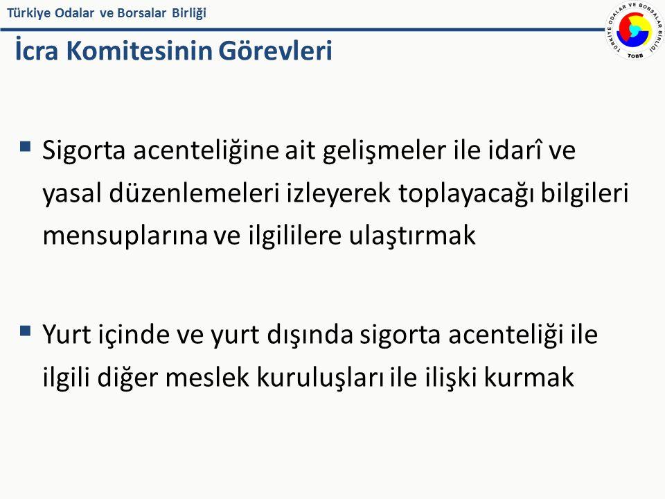 Türkiye Odalar ve Borsalar Birliği İcra Komitesinin Görevleri  Sigorta acenteliğine ait gelişmeler ile idarî ve yasal düzenlemeleri izleyerek toplaya