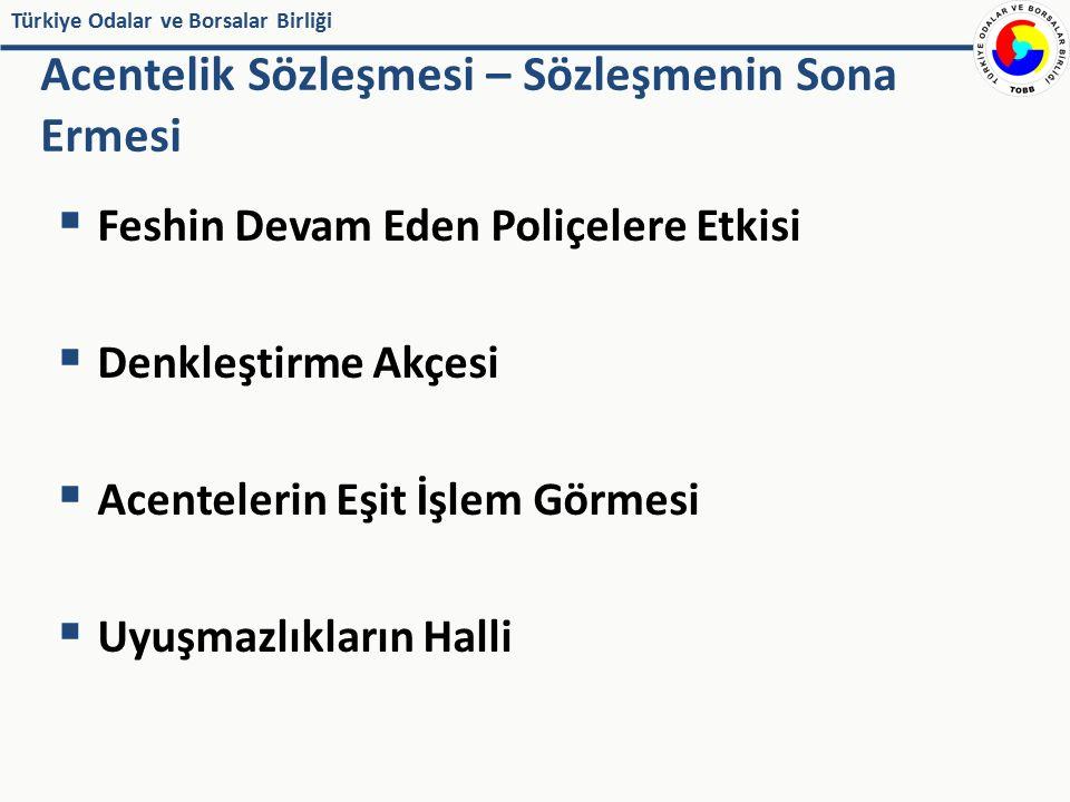 Türkiye Odalar ve Borsalar Birliği  Feshin Devam Eden Poliçelere Etkisi  Denkleştirme Akçesi  Acentelerin Eşit İşlem Görmesi  Uyuşmazlıkların Hall