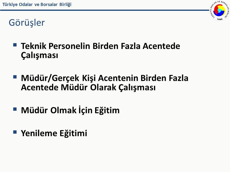 Türkiye Odalar ve Borsalar Birliği  Teknik Personelin Birden Fazla Acentede Çalışması  Müdür/Gerçek Kişi Acentenin Birden Fazla Acentede Müdür Olara