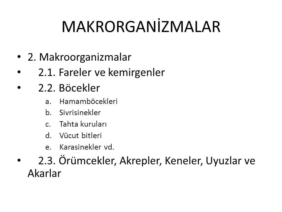 MAKRORGANİZMALAR 2.Makroorganizmalar 2.1. Fareler ve kemirgenler 2.2.