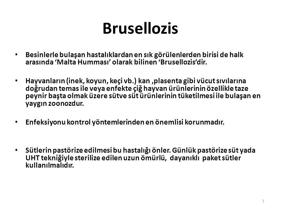 7 Besinlerle bulaşan hastalıklardan en sık görülenlerden birisi de halk arasında 'Malta Humması' olarak bilinen 'Brusellozis'dir.