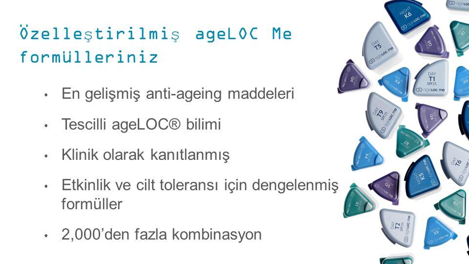 Özelleştirilmiş ageLOC Me formülleriniz En gelişmiş anti-ageing maddeleri Tescilli ageLOC® bilimi Klinik olarak kanıtlanmış Etkinlik ve cilt toleransı için dengelenmiş formüller 2,000'den fazla kombinasyon