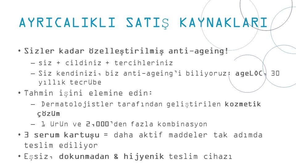 AYRICALIKLI SATIŞ KAYNAKLARI Sizler kadar özelleştirilmiş anti-ageing.
