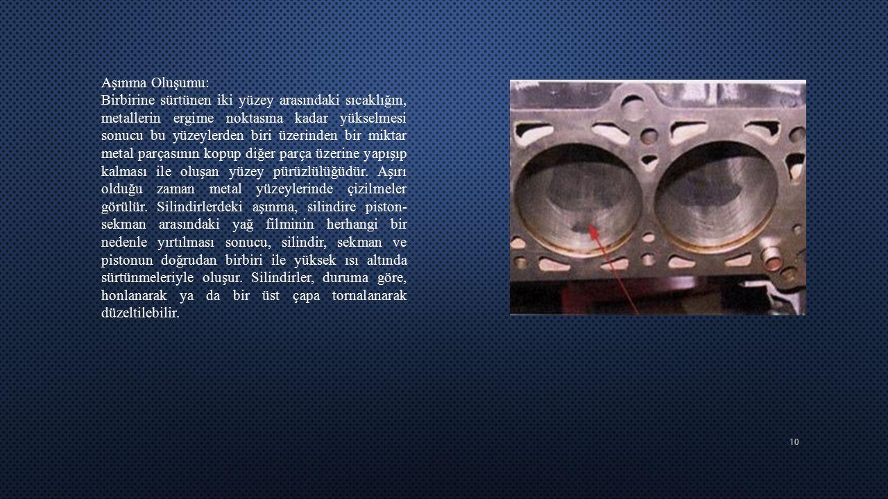 10 Aşınma Oluşumu: Birbirine sürtünen iki yüzey arasındaki sıcaklığın, metallerin ergime noktasına kadar yükselmesi sonucu bu yüzeylerden biri üzerind