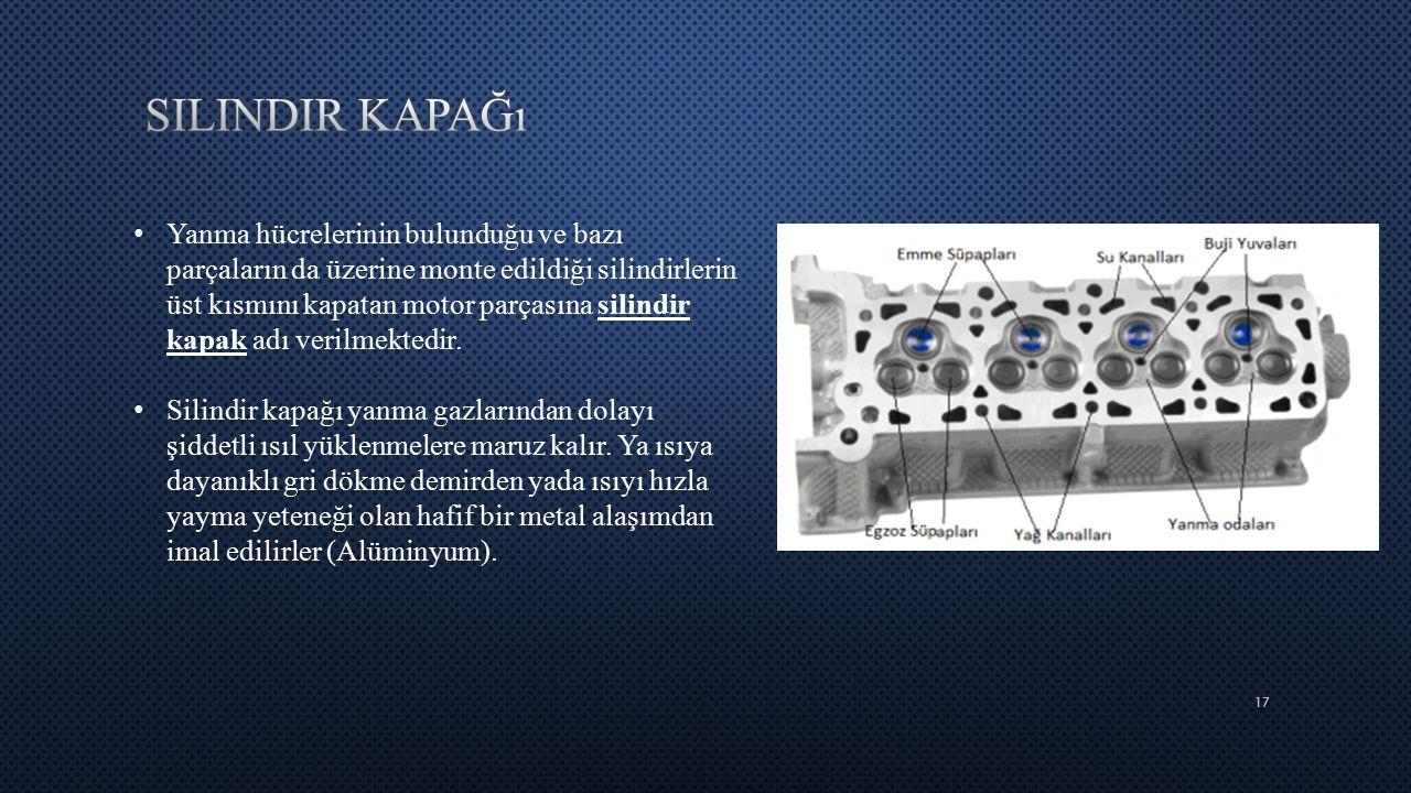 17 Yanma hücrelerinin bulunduğu ve bazı parçaların da üzerine monte edildiği silindirlerin üst kısmını kapatan motor parçasına silindir kapak adı veri