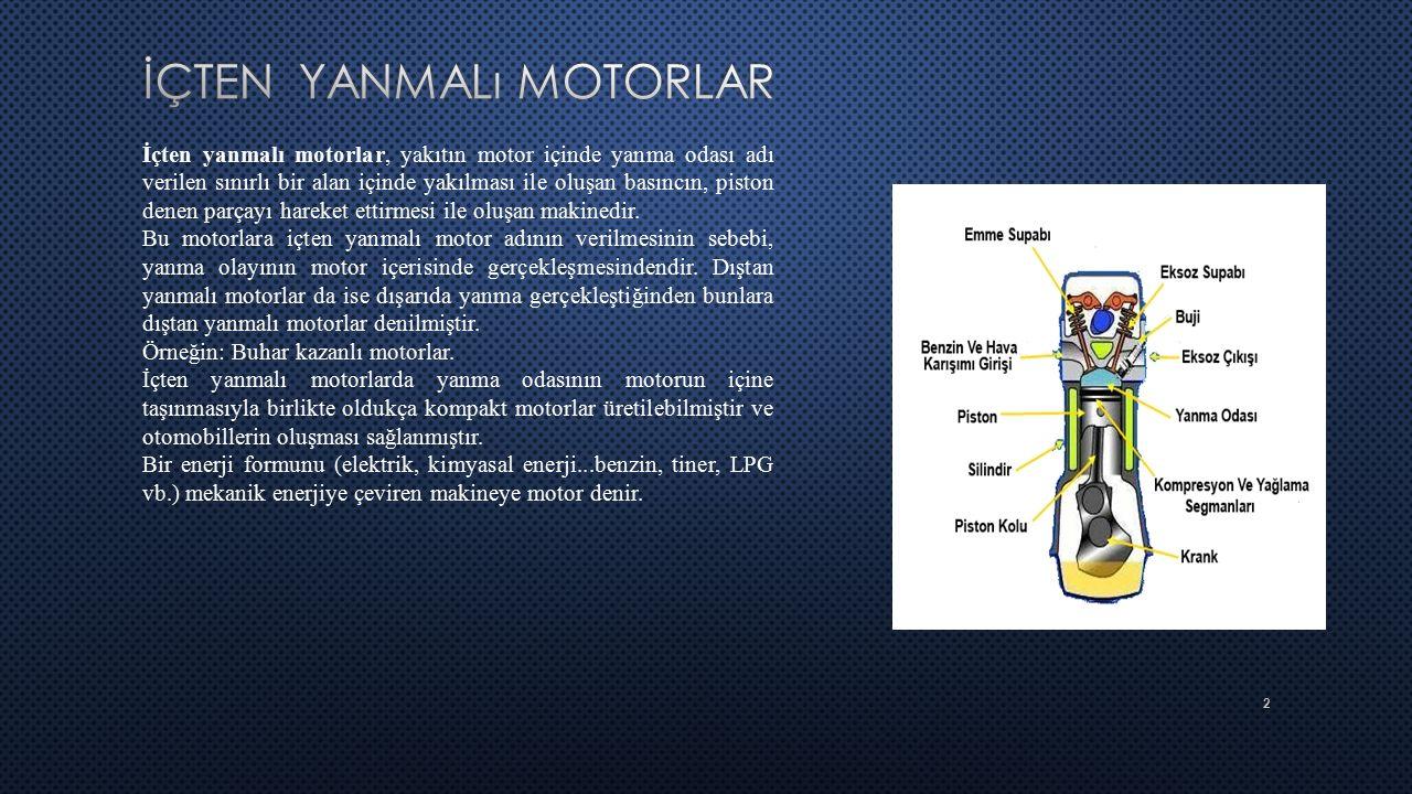 2 İçten yanmalı motorlar, yakıtın motor içinde yanma odası adı verilen sınırlı bir alan içinde yakılması ile oluşan basıncın, piston denen parçayı har