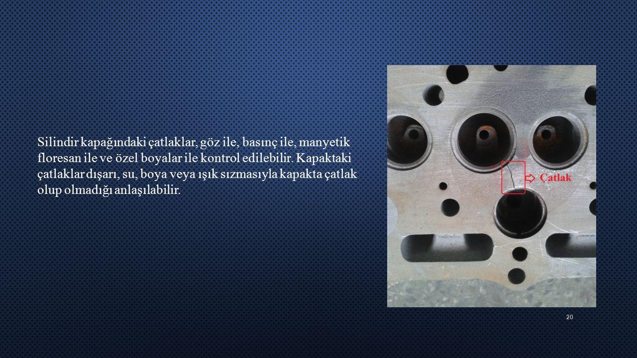 20 Silindir kapağındaki çatlaklar, göz ile, basınç ile, manyetik floresan ile ve özel boyalar ile kontrol edilebilir. Kapaktaki çatlaklar dışarı, su,