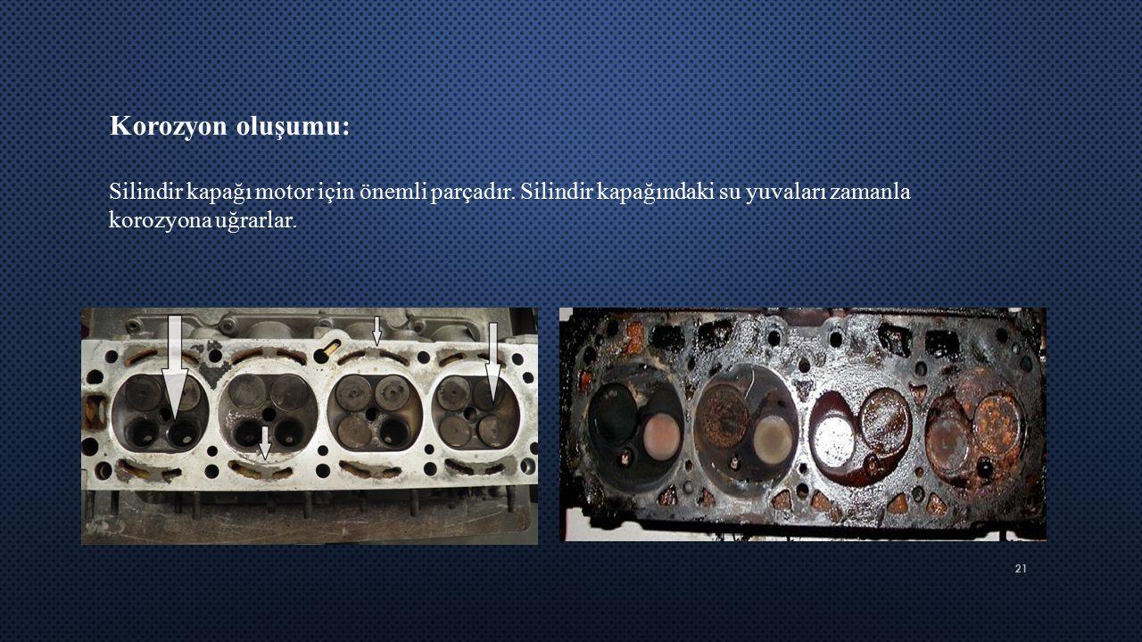 21 Korozyon oluşumu: Silindir kapağı motor için önemli parçadır. Silindir kapağındaki su yuvaları zamanla korozyona uğrarlar.