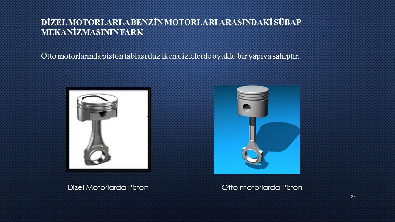 27 DİZEL MOTORLARLA BENZİN MOTORLARI ARASINDAKİ SÜBAP MEKANİZMASININ FARK Otto motorlarında piston tablası düz iken dizellerde oyuklu bir yapıya sahip