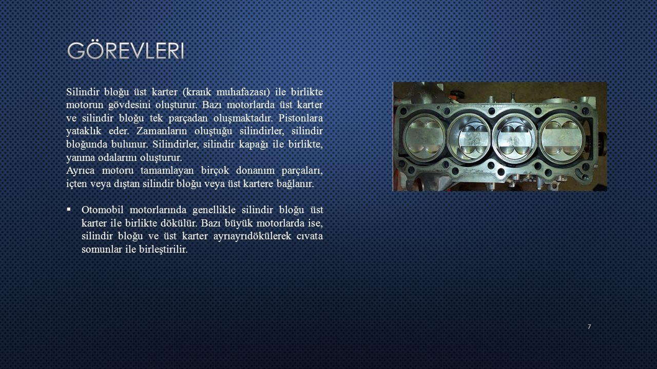 7 Silindir bloğu üst karter (krank muhafazası) ile birlikte motorun gövdesini oluşturur. Bazı motorlarda üst karter ve silindir bloğu tek parçadan olu