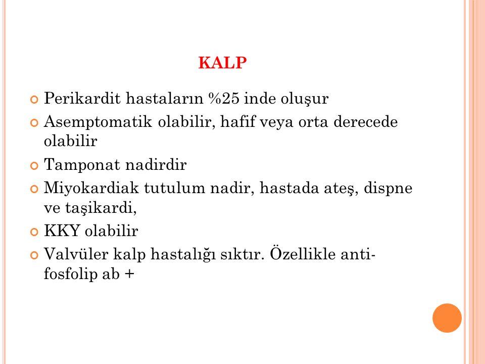 KALP Perikardit hastaların %25 inde oluşur Asemptomatik olabilir, hafif veya orta derecede olabilir Tamponat nadirdir Miyokardiak tutulum nadir, hasta